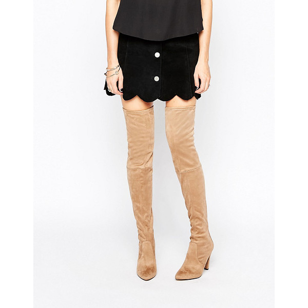 CARVELA Wren Heeled Over The Knee Boots - Boots by Carvela, Textile upper, Back zip opening,