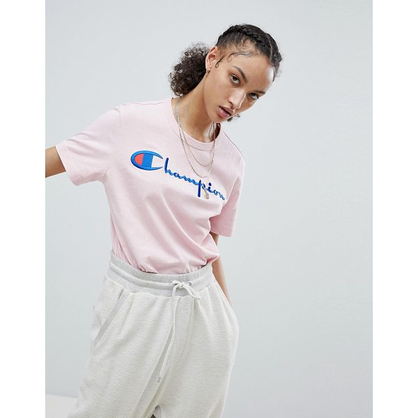CHAMPION Crewneck T-Shirt With Script Logo - T-shirt by Champion, You can never have too many, Crew...