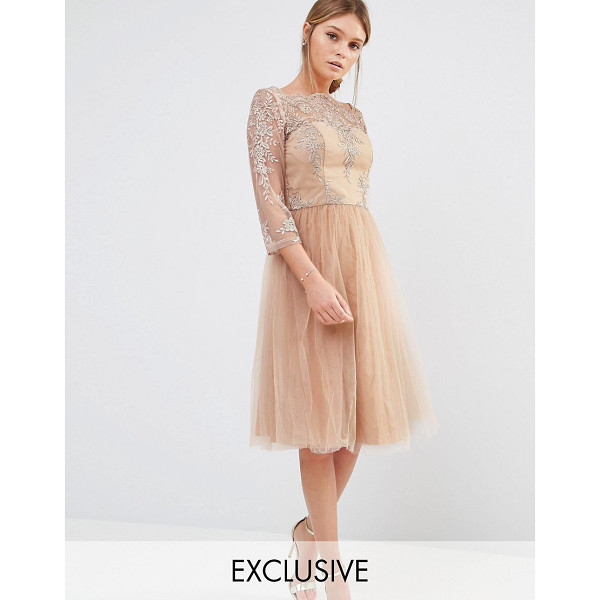 CHI CHI LONDON Bardot Neck Midi Dress with Premium Lace and Tulle Skirt - Midi dress by Chi Chi London, Embroidered mesh top, Boat...