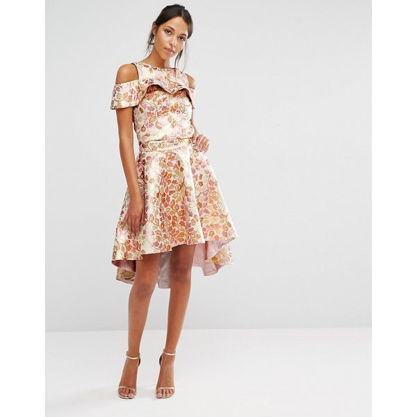 CHI CHI LONDON Chi Chi High Low Skirt Co-ord in Rose Gold Jacquard - Skirt by Chi Chi London, Woven jacquard, High-rise...