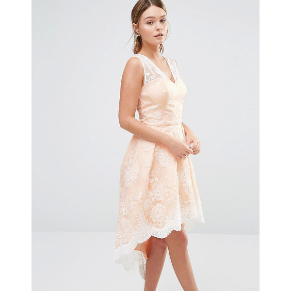 """CHI CHI LONDON High Low Prom Dress In Embroidered Lace - """"""""Dress by Chi Chi London, Woven fabric, Semi-sheer..."""