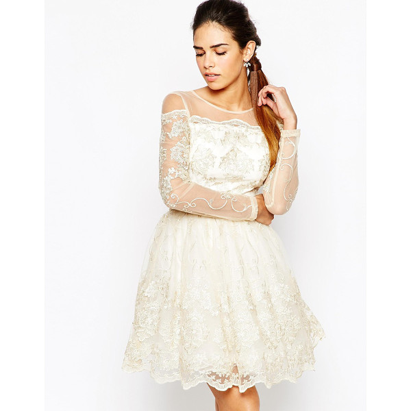 CHI CHI LONDON Long Sleeve Premium Lace Mini Prom Skater Dress - Evening dress by Chi Chi London, Sheer lace and mesh...