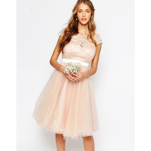 CHI CHI LONDON Midi Dress with Tulle Skirt And Lace Back - Midi dress by Chi Chi London, Silky lining, High neckline,...