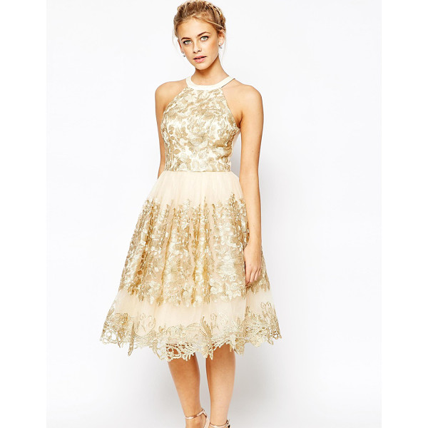 CHI CHI LONDON Premium Metallic Lace Midi Prom Dress with High Neck - - Evening dress by Chi Chi London, Lined mesh, Gold-tone...