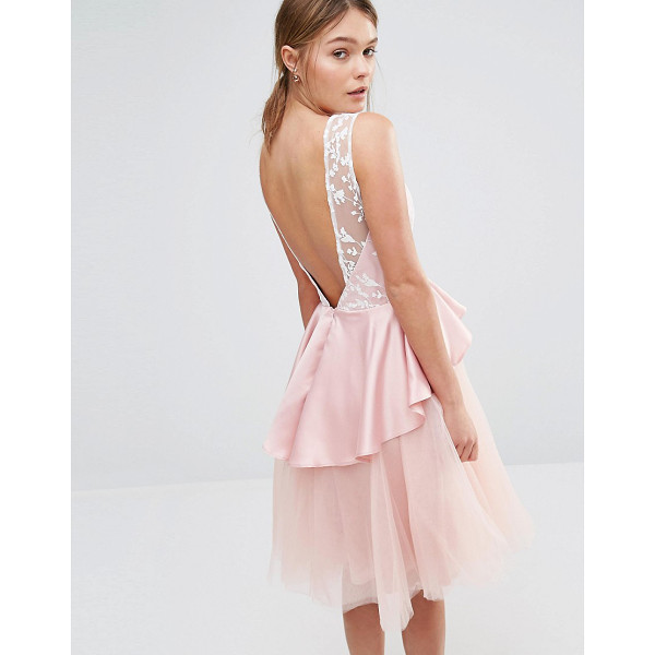 """CHI CHI LONDON Tulle Midi Dress with Frill Waist - """"""""Midi dress by Chi Chi London, Lined woven fabric, Layered..."""