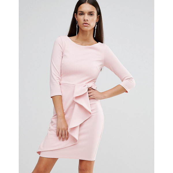 CITY GODDESS 3/4 Sleeve Waterfall Peplum Midi Dress - Midi dress by City Goddess, Stretch fabric, High neckline,