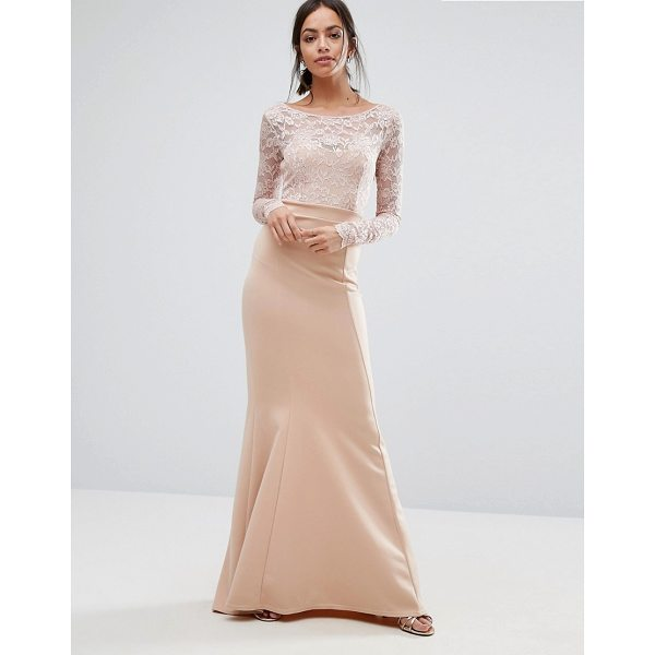 """CITY GODDESS Bow Back Maxi Dress With Lace Body - """"""""Maxi dress by City Goddess, Smooth stretch fabric,..."""