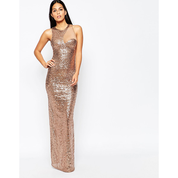 CITY GODDESS Sequin cocktail maxi dress with mesh insert - Evening dress by City Goddess Sheer mesh stretch fabric All...