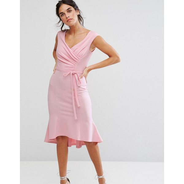 "CITY GODDESS Wrap Front Peplum Midi Dress - """"Midi dress by City Goddess, Stretch knitted fabric,..."