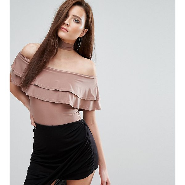 CLUB L Bardot Frill Body with Choker Detail - Body by Club L, Smooth stretch fabric, Bardot neck, Double...