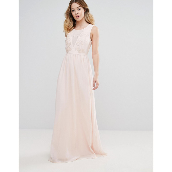 "CLUB L Bridesmaid Maxi Dress With Rose Embroidery - """"Maxi dress by Club L, Lined chiffon, Scoop neck,..."