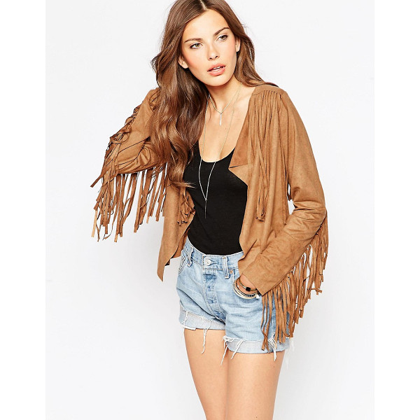 CLUB L Fringed Suedette Jacket - Jacket by Club L, Smooth suedette fabric, Tassel detail...