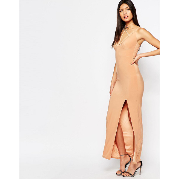 CLUB L Harness Detailed Maxi Dress - Maxi dress by Club L, Slinky stretch jersey, Plunge...