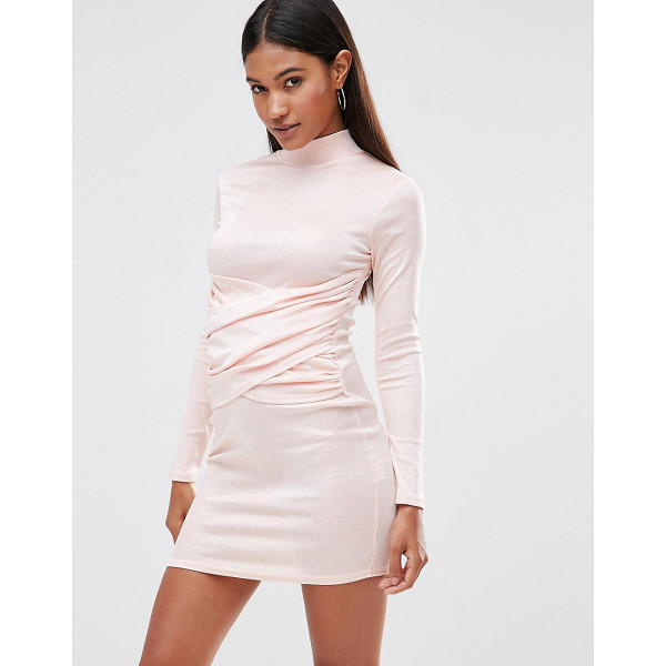 CLUB L High Neck Bodycon Dress With Wrap Front Detail - Body-Conscious dress by Club L, Knitted fabric, High