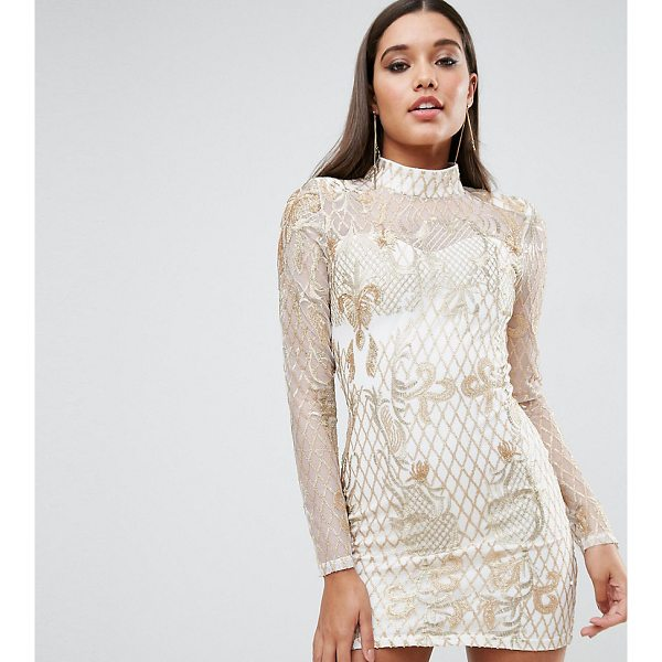"CLUB L High Neck Embellished Mini Dress - """"Dress by Club L, Sheer mesh, Partially lined, High neck,..."