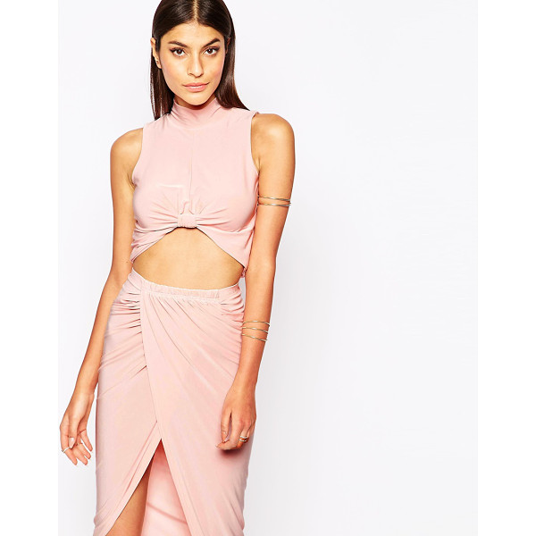 CLUB L Knot front crop top with high neck - Top by Club L Smooth stretch fabric High neckline Raised...