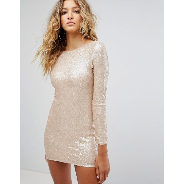 """CLUB L Long Sleeve Plunge Back All Over Sequin Mini Dress - """"""""Mini dress by Club L, Sequinned fabric, Boat neck,..."""