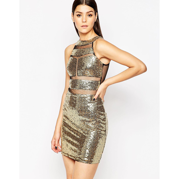 CLUB L Sequin mini dress with stripe mesh inserts - Evening dress by Club L Sequin embellished fabric Boat...