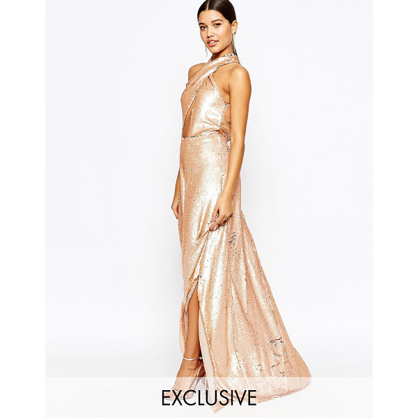CLUB L Showstopper 2 Tone Sequin Maxi Dress - Maxi dress by Club L, Sequin embellished fabric, Halter...
