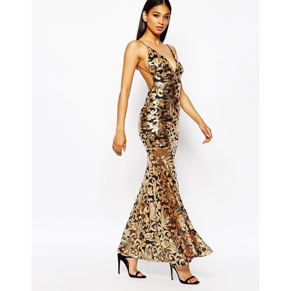 CLUB L Showstopper open back sequin maxi dress with fishtail - Maxi dress by Club L Sequin embellished fabric V-plunge...