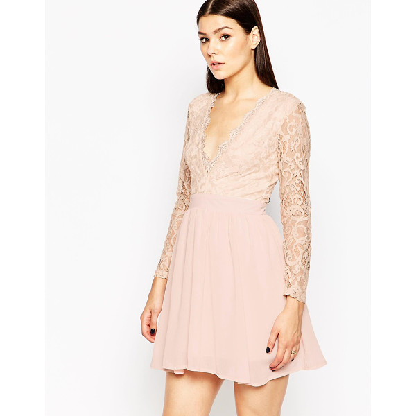 CLUB L Skater Dress with Lace Scallop Plunge - Lace dress by Club L, Sheer lace, Partially lined, Scallop...
