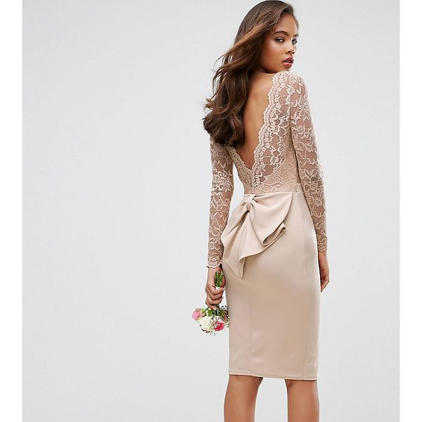 "CLUB L TALL Allover Lace Top Midi Dress With Open Bow Back - """"Tall dress by Club L, Smooth fabric, Sheer lace top, Boat..."