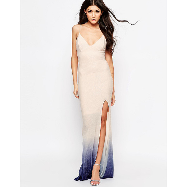 CLUB L Tie back fishtail maxi dress in ombre glitter - Maxi dress by Club L, Soft-touch knitted fabric, Tectured...
