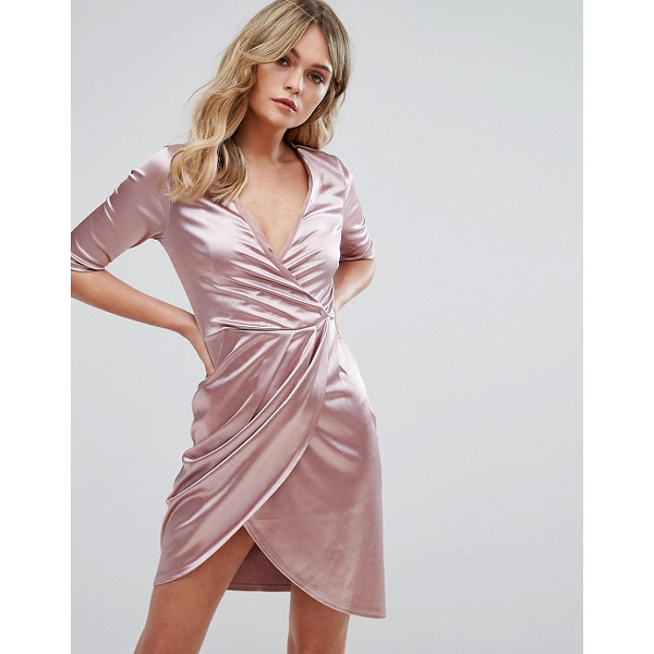 CLUB L Wrap Dress In Satin - Dress by Club L, Lightweight satin, Wrap front, V-neck,...