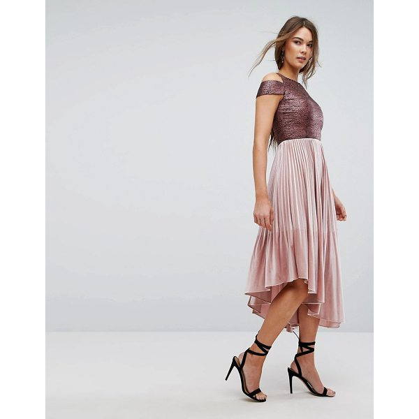 "COAST Delores Velvet Pleated Dress - """"Dress by Coast, Stretch woven fabric, Metallic top, Round..."