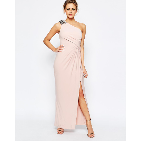 COAST Emilana One Shoulder Maxi Dress in Blush - Maxi dress by Coast, Lined stretch fabric, Jewelled...
