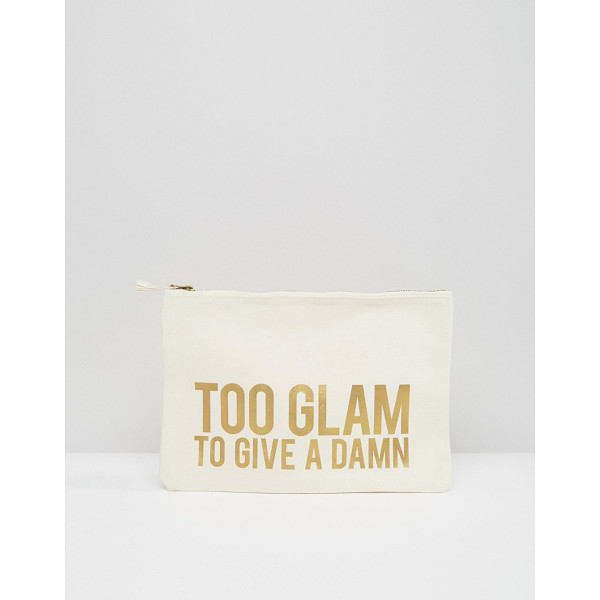 CRAZY HAUTE 'Too Glam To Give A Damn' Slogan Canvas Clutch Bag - Cart by Crazy Haute, Canvas outer, Gold-tone slogan design,
