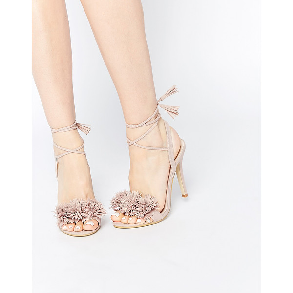 DAISY STREET Blush pom ghillie lace up heeled sandals - Heels by Daisy Street Suede-style upper Wraparound tie...