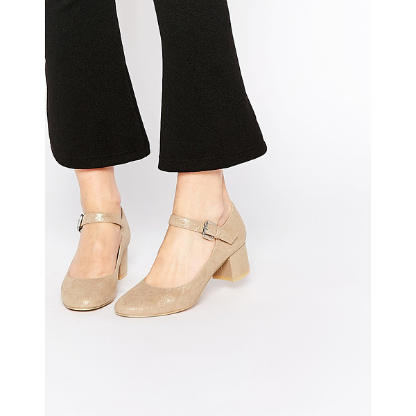 DAISY STREET Gold Mary Jane Heel Shoes - Shoes by Daisy Street, Smooth faux suede, Rounded toe,...