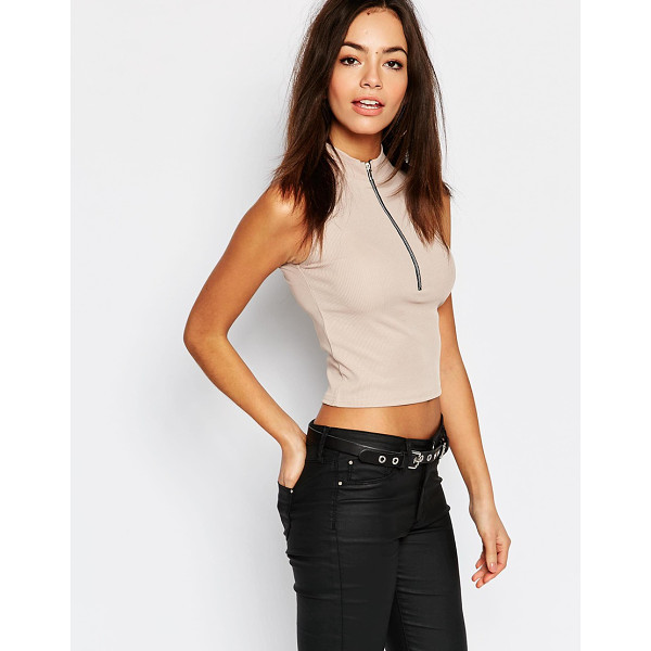 DAISY STREET High Neck Crop Top - Top by Daisy Street, Ribbed jersey, High neckline, Cropped...