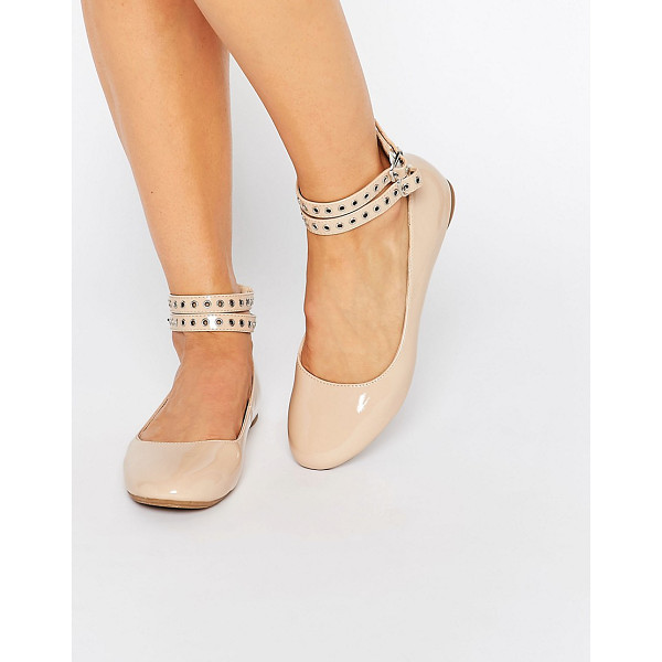 DAISY STREET Multi Ankle Strap Nude Flat Shoes - Flat shoes by Daisy Street, Faux-leather upper, Patent...