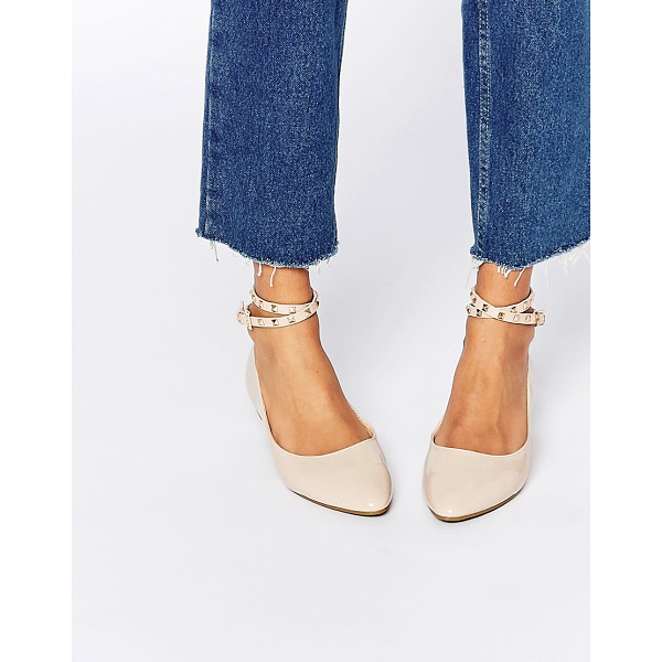 DAISY STREET Nude Studded Ankle Strap Ballet Flat Shoes - Flat shoes by Daisy Street, Patent, leather look upper,...