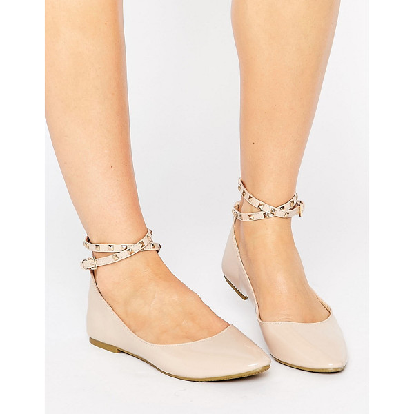 DAISY STREET Nude Studded Ankle Strap Ballet Flat Shoes - Shoes by Daisy Street, Faux leather upper, Ankle-strap...