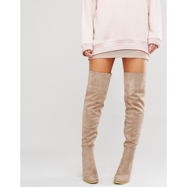 """DAISY STREET Taupe Heeled Over The Knee Boots - """"""""Boots by Daisy Street, Textile upper, Side zip opening,..."""