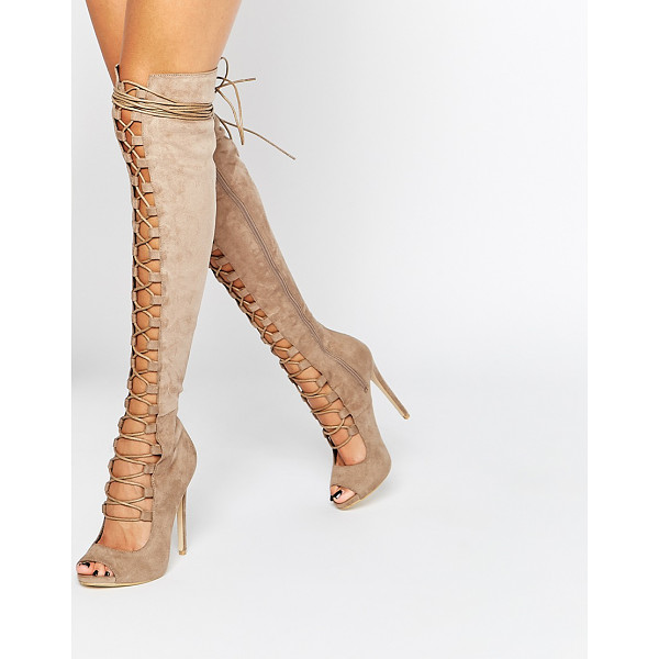 DAISY STREET Taupe Lace Up Ghillie Over The Knee Boots - Heels by Daisy Street, Textile upper, Over-the-knee design,