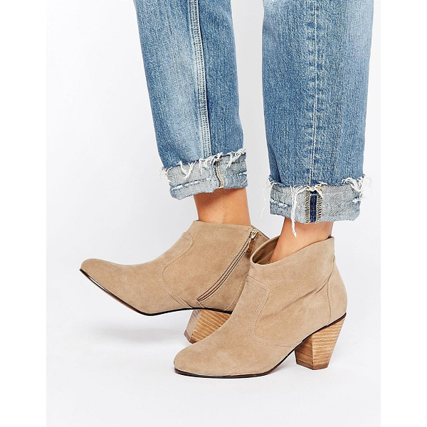 DAISY STREET Taupe Western Style Heeled Boots - Boots by Daisy Street, Suede-style upper, Zip closure,...