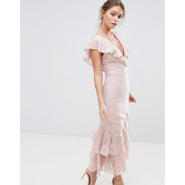 """DARK PINK Burn Out Midi Dress With Ruffle Sleeve And Hem - """"""""Midi dress by Dark Pink, Lined woven fabric, Textured..."""