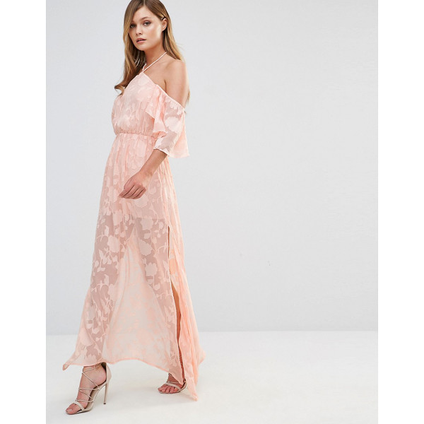 "DARK PINK Cold Shoulder Frill Maxi Dress - """"Maxi dress by Dark Pink, Semi-sheer embroidered fabric,..."