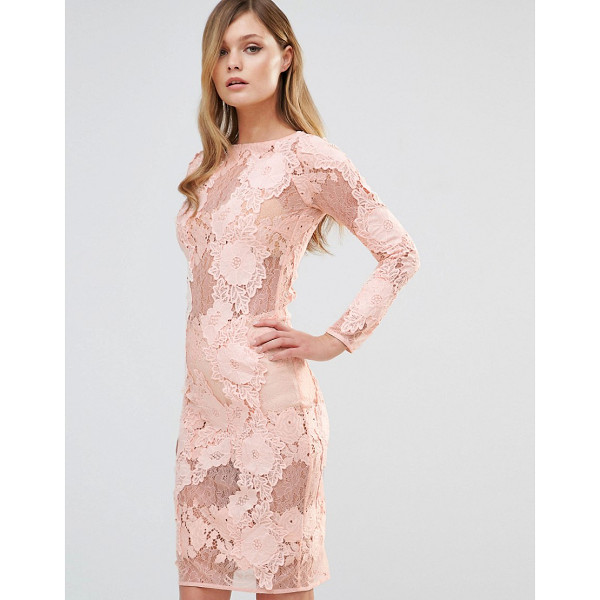 "DARK PINK Long Sleeved Lace Midi Dress - """"Lace dress by Dark Pink, Semi-sheer lace, Boat neckline,..."