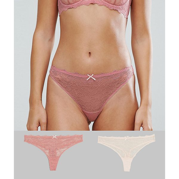 DORINA Layla Dark Coral 2 Pack Thong - Thong pack by Dorina, Pack of two, Stretch lace, High-rise...