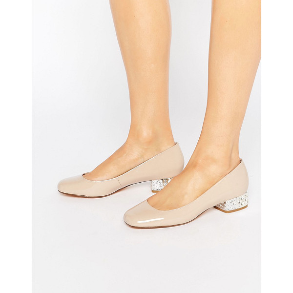 DUNE Bijoux Nude Patent Ballerina With Jewel Heel - Ballet pumps by Dune, Real leather upper, Patent finish,...