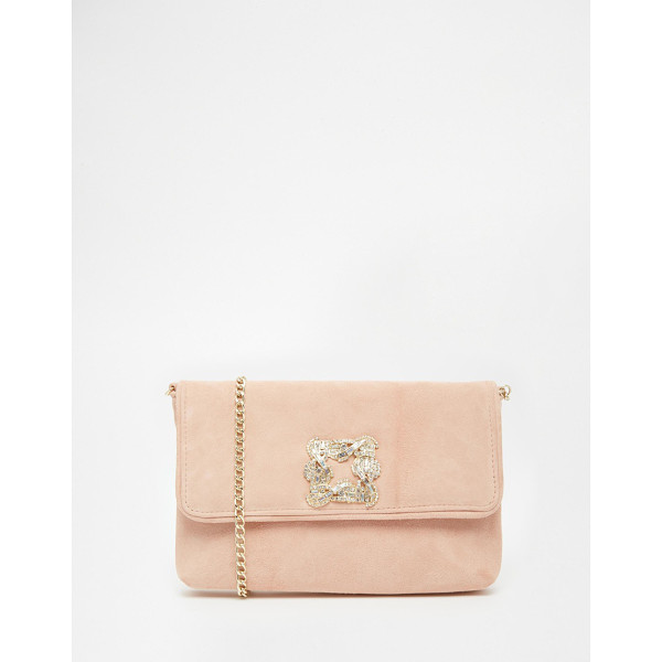 DUNE Bree jewelled brooch suede clutch bag - Clutch bag by Dune Suede-style outer Flap top with press...