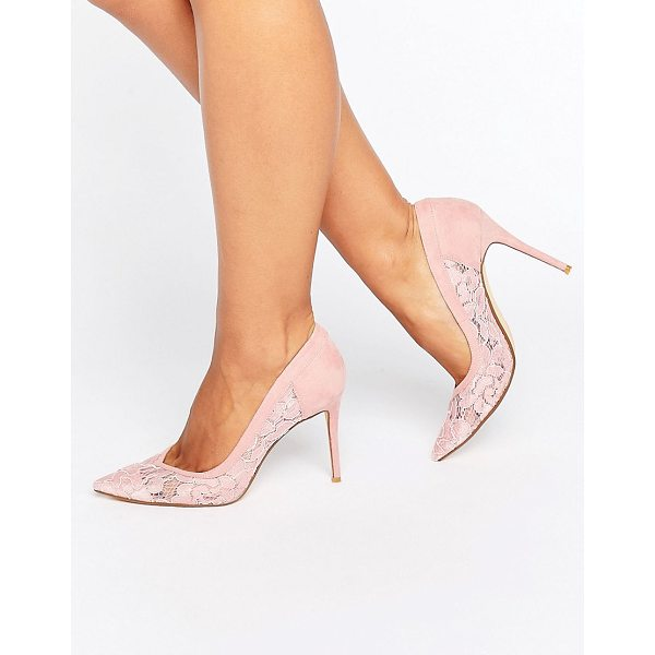 """DUNE BRIDAL Dune London Bridal Buffie Lace Pointed Pumps - """"""""Heels by Dune, Faux-suede upper, Sheer lace panels,..."""