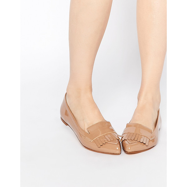 DUNE Gersey patent fringed flat shoes - Flat shoes by Dune, Leather-look fabric, Patent finish,...