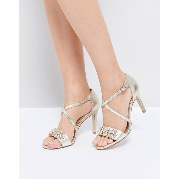 "DUNE London Gold Embellished Heeled Sandals - """"Heels by Dune, Leather upper, Metallic finish,..."