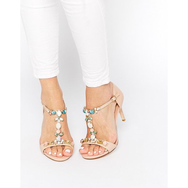 DUNE Hummingbird embellished t-bar heeled sandals - Sandals by Dune Smooth, leather upper Pin buckle fastening...